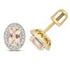 Morganite & Diamond Oval Halo Stud Earrings