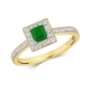 Princess Emerald & Diamond Ring 0.64ct. 9k Gold