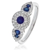 Sapphire & Diamond Dress Ring 0.80ct, 18k White Gold