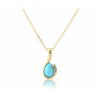 Turquoise & Diamond Pendant Necklace, 9k Gold