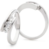 Diamond Channel Set Round Cut Trilogy Ring 0.33ct, 18k White Gold