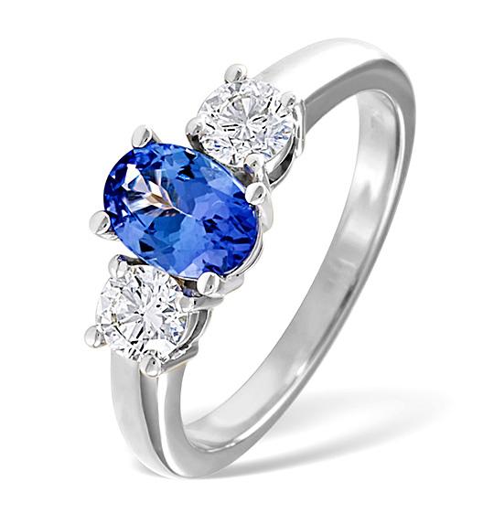 Diamond and Tanzanite Ring 18k White Gold