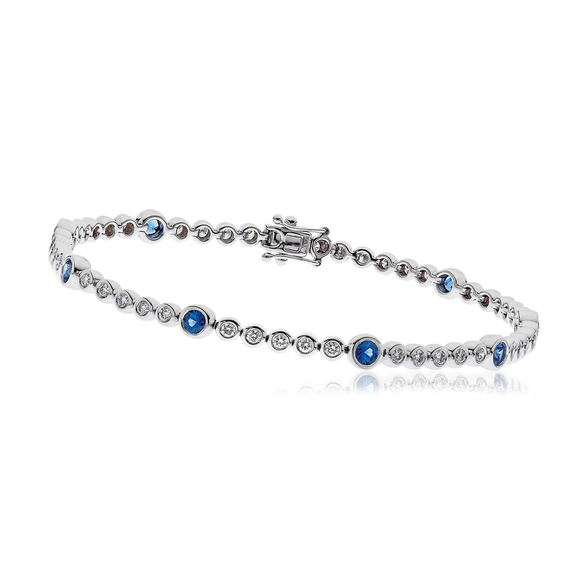 Diamond Sapphire Tennis Bracelet 2 75ct H Si 18k White Gold
