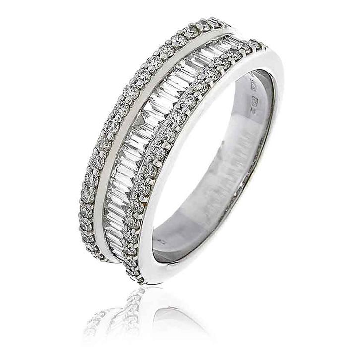 Diamond Baguette Half Eternity Ring 0.90ct 18k White Gold