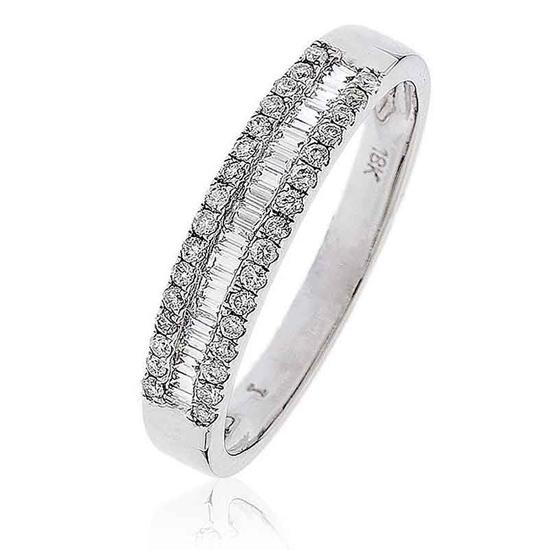 Diamond Baguette Half Eternity Ring 0.33ct 18k White Gold