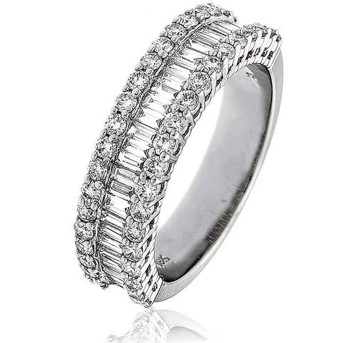 ade98bf0e7242 Diamond Baguette Half Eternity Ring 1.50ct, Platinum