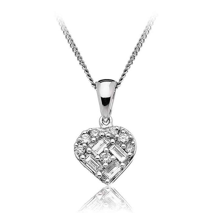 Diamond Baguette Heart Necklace 0.20ct 18k White Gold