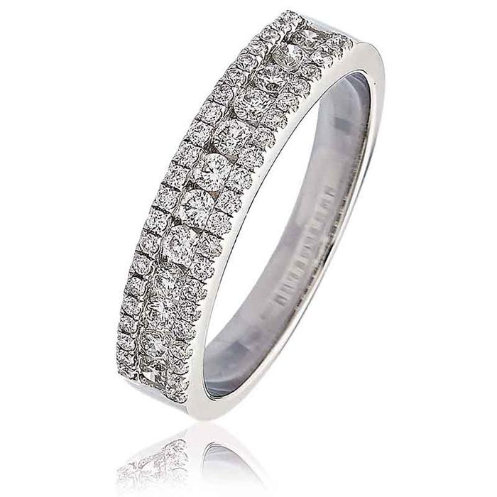 Diamond Channel Set Half Eternity Ring 0.55ct 18k White Gold