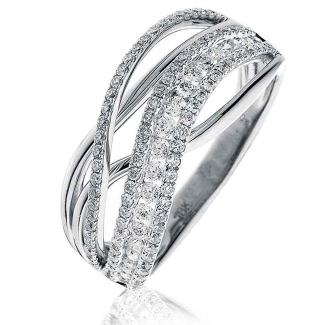 Diamond CrossOver Ring 0.65ct 18k White Gold