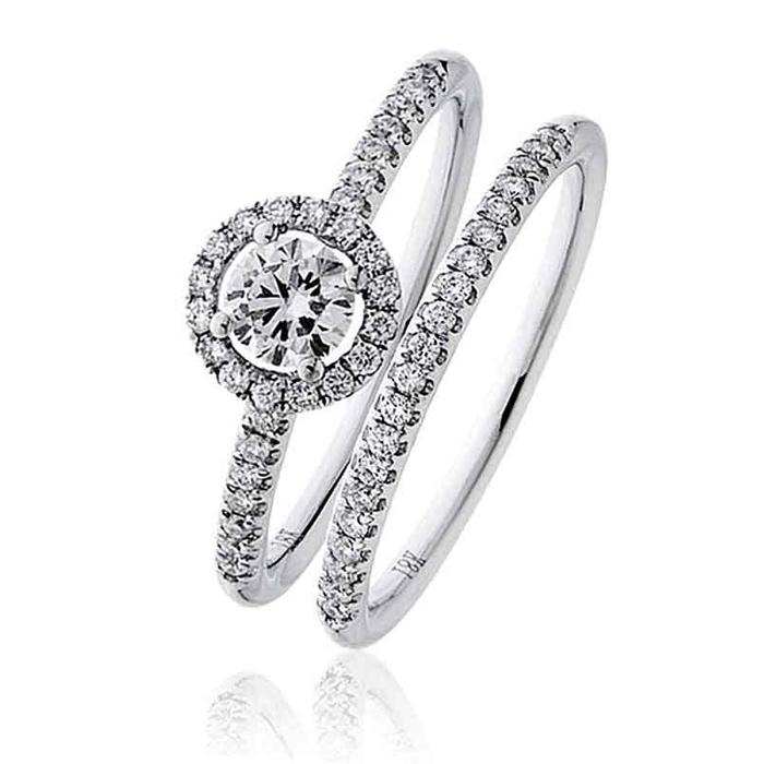 Diamond Halo Bridal Ring Set 0 60ct 18k White Gold Bridal Sets Rings