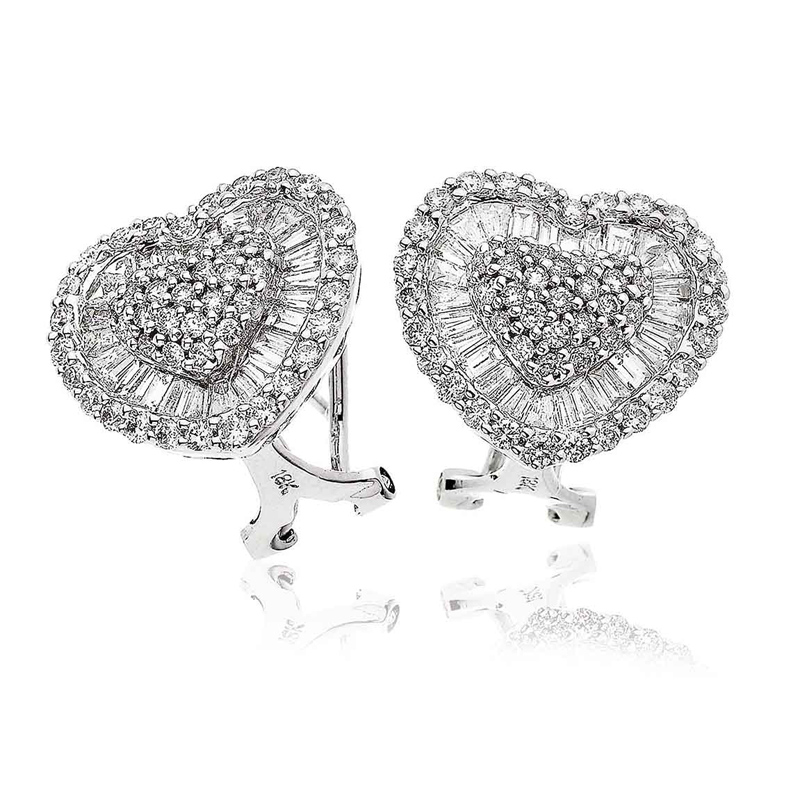 Diamond Heart Earrings with Baguettes 2.65ct 18k White Gold