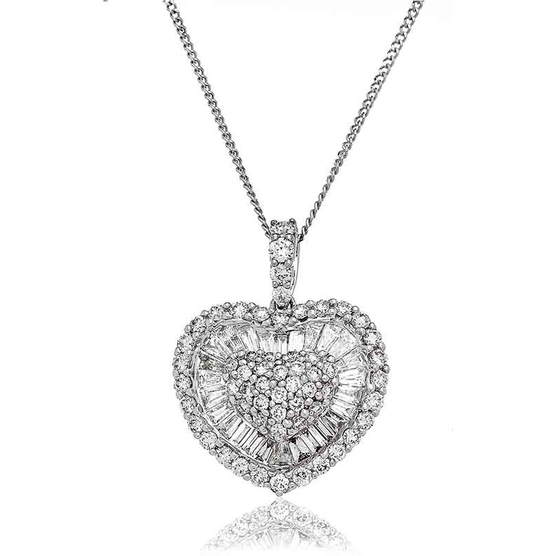 Diamond Heart Pendant Necklace 1.60ct 18k White Gold