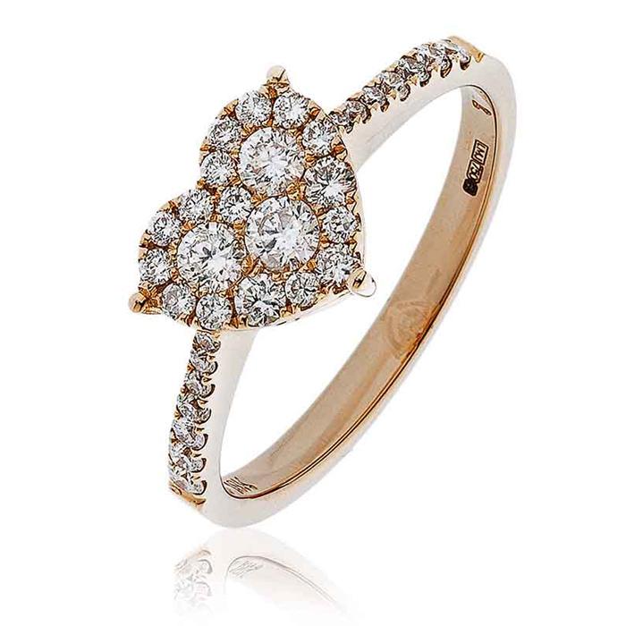 Diamond Heart Ring 0.50ct 18k Rose Gold
