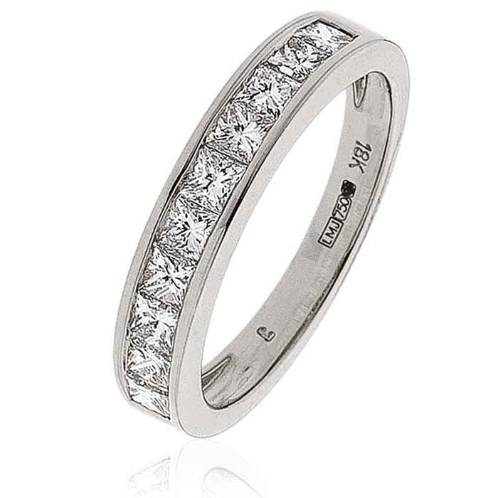 Diamond Princess Half Eternity Ring 1.00ct 18k Gold
