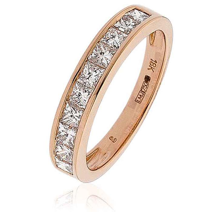 Diamond Princess Half Eternity Ring 1.00ct 18k Rose Gold