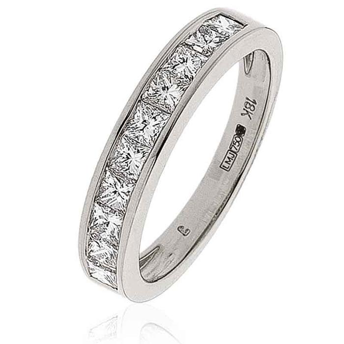 Diamond Princess Half Eternity Ring 1.00ct 18k White Gold