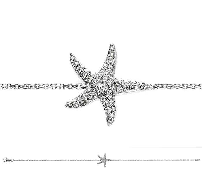 Diamond starfish pendant bracelet 025ct 18k white gold mozeypictures Choice Image