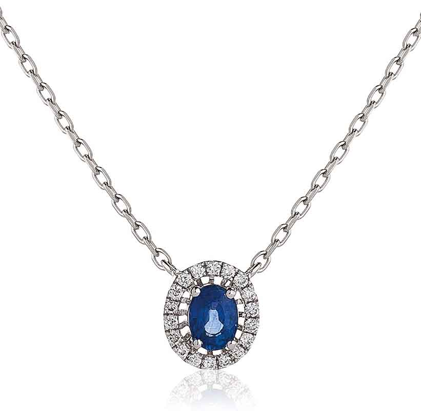 Diamond And Blue Sapphire Pendant Necklace 18k White Gold