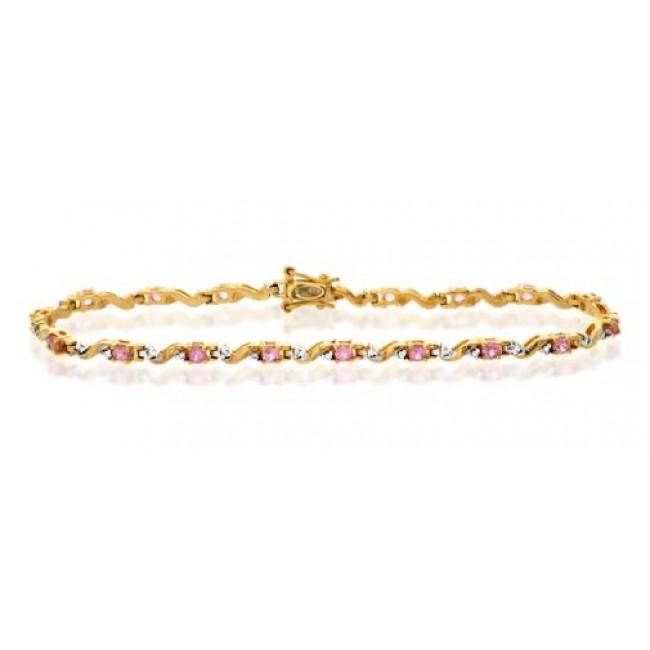Bracelets Diamond and Pink Sapphire Bracelet, 9k Gold