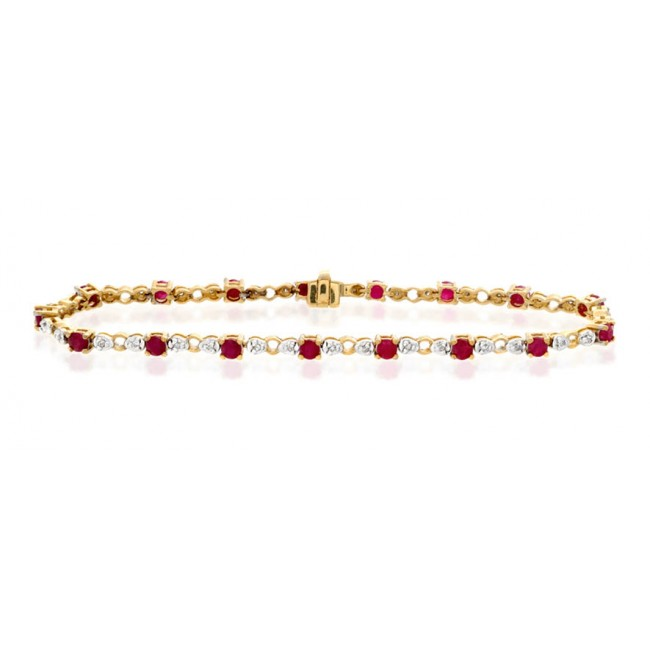 Bracelets Diamond and Ruby Bracelet, 9k Gold