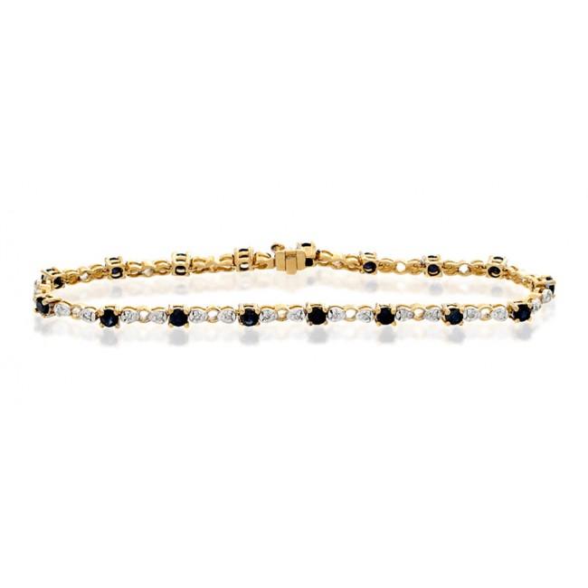 Bracelets Diamond and Sapphire Bracelet, 9k Gold