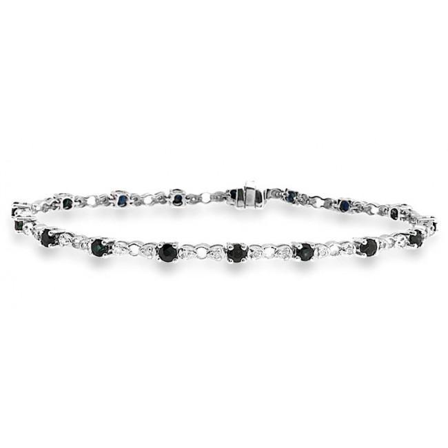 Bracelets Diamond and Sapphire Bracelet, 9k White Gold