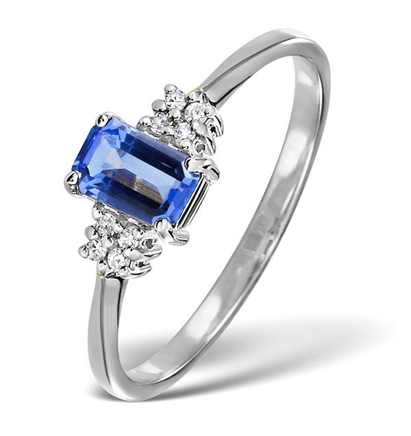 Luxury Diamond and Tanzanite Ring 18k White Gold
