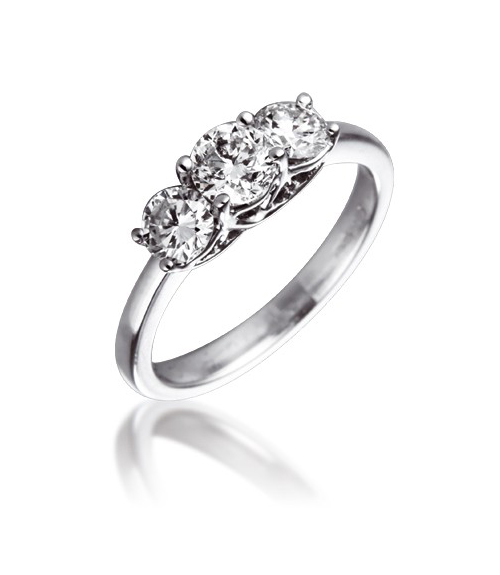 Diamond Three Stone Trilogy Ring 1.00ct 18k White Gold