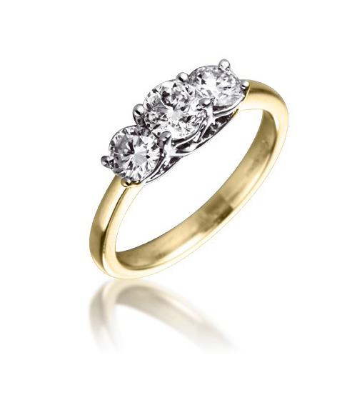 Diamond Three Stone Trilogy Ring 1.00ct 18k Gold