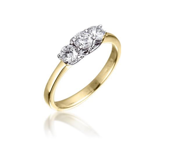 Diamond Three Stone Trilogy Ring 0.50ct 18k Gold