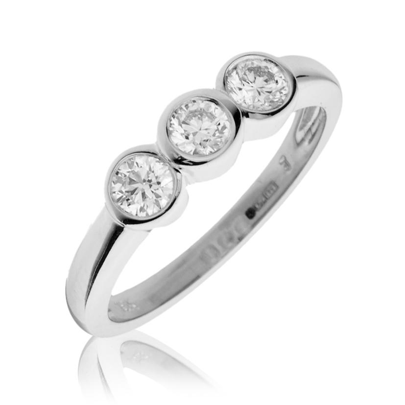 Diamond Trilogy Ring Bezel Rub Over Set 0 55ct 18k White Gold