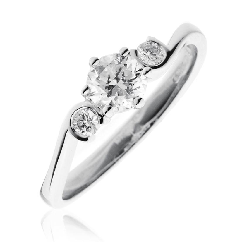 Diamond Three Stone Engagement Ring 0.60ct 18k White Gold