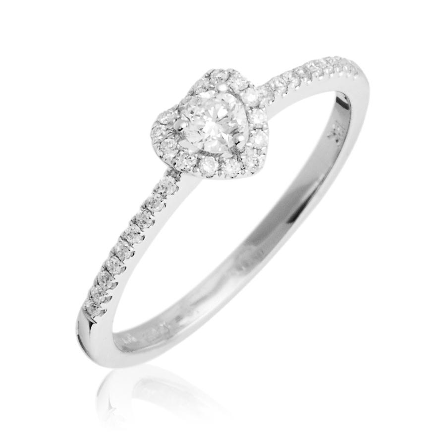 Diamond Heart Engagement Ring 0.25ct 18k White Gold