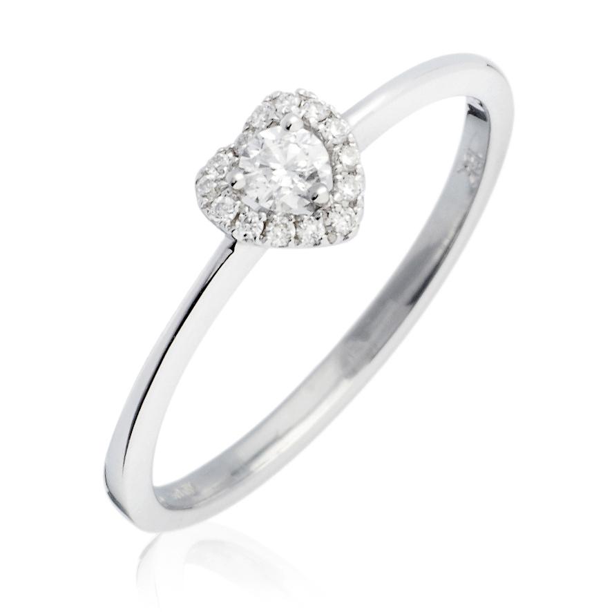 Diamond Heart Engagement Ring 0.15ct 18k White Gold