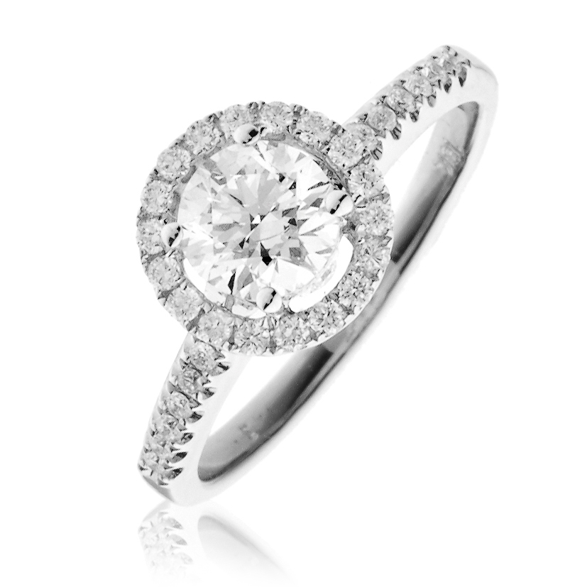 Diamond Halo Engagement Ring 1 00ct 18k White Gold Engagement
