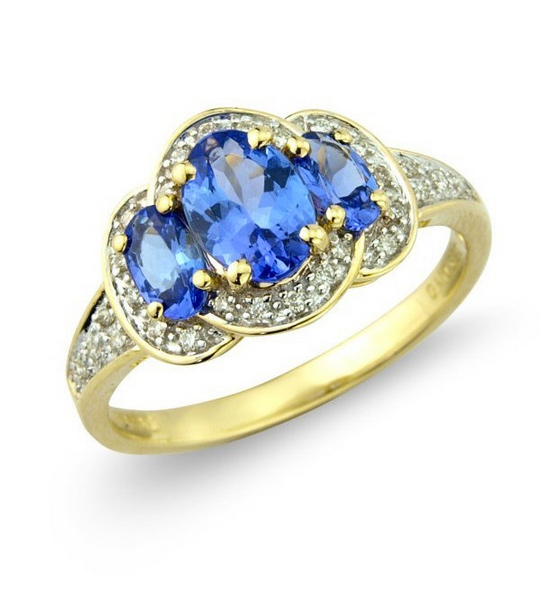 Diamond and Oval Tanzanite Trilogy Ring 9k Gold