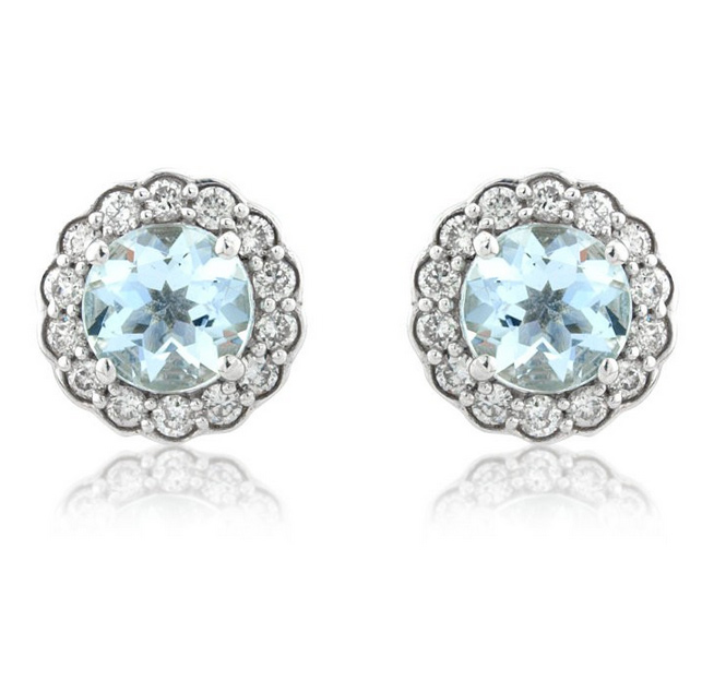 Aquamarine Gemstone Earrings: Diamond & Aquamarine Stud Earrings 0.37ct, 9k White Gold
