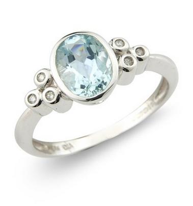 Aquamarine & Diamond Ring 9k White Gold