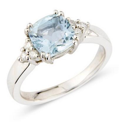 Aquamarine & Diamond Ring 0.09ct 9k White Gold