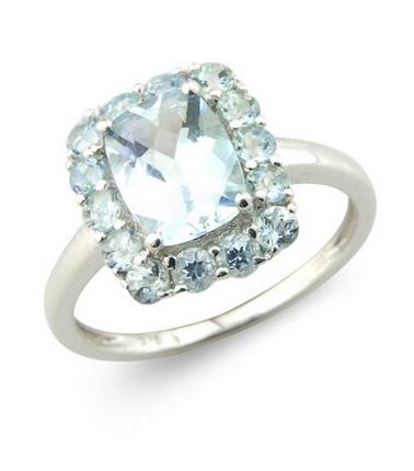 Aquamarine Cushion Cut Ring 9k White Gold