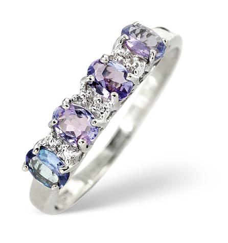 Diamond and Tanzanite Ring 0.03ct 9k White Gold