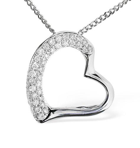 Diamond Heart PendantNecklace 0.19ct