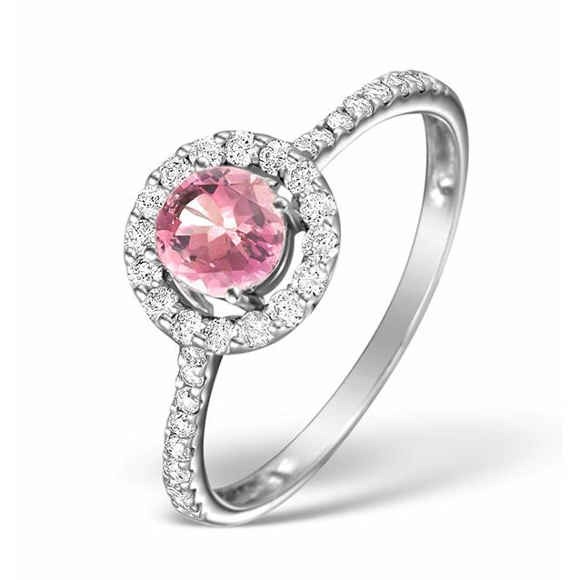 Pink Sapphire Amp Diamond Halo Ring 1 00ct 18k White Gold