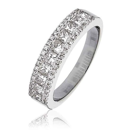 Princess Diamond Half Eternity Ring 1.10ct 18k White Gold