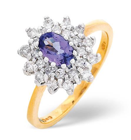 Diamond and Tanzanite Ring 0.36ct 18k Gold