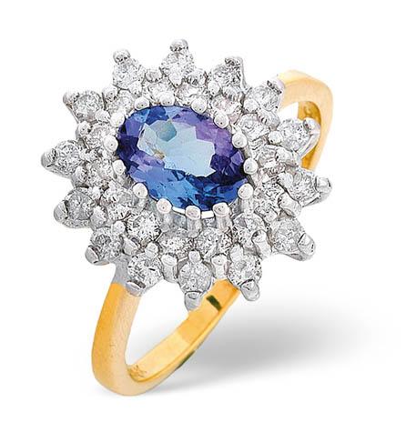 Diamond and Tanzanite Ring 0.56ct 18k Gold