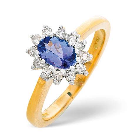Diamond and Tanzanite Ring 0.18ct 18k Gold