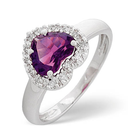 Diamond and Amethyst Ring 0.10ct