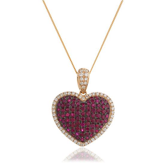 Ruby Amp Diamond Pav 233 Heart Pendant Necklace 2 10ct