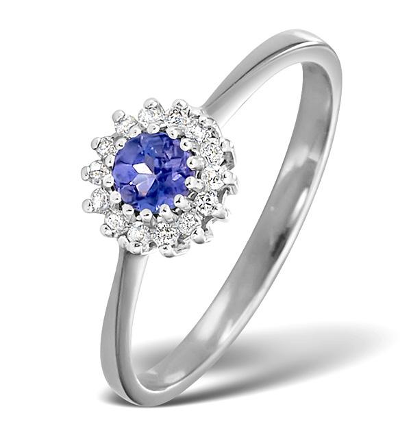 Diamond and Tanzanite Ring 0.07ct White Gold